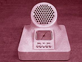 La Phonola 547 radio a valvole in bachelite prodotta in varie colorazioni, progettata dai fratelli Castiglioni 1939