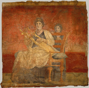 Seated woman playing a kithara. From Room H of the Villa of P. Fannius Synistor at Boscoreale, ca. 40–30 B.C.; Late Republican Roman. Wall painting fresco.
