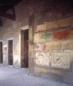 The House of Sallust in Pompeii, from the second century BCE, Incrustation Style (first), Wall-Painting, Casa Sannitica (Samnite), Herculaneum, Naples, Italy.
