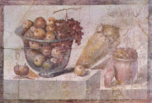 "Still life with glass fruit bowl full and vases ; National Archaeological Museum ( Naples) ; from Pompeii , Praedia Iulia Felix - second panel with still life of a decorative band . On a shelf include a glass bowl containing autumn fresh fruit (apples and grapes); Side follow a terracotta amphora and a terracotta ""olla"" containing canned fruit; To the fishbowl Feet There are a pomegranate and an apple."
