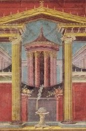 Fresco from the villa of Publio Fannio Sinistore in Boscoreale, currently located in the Metropolitan Museum of Art, New York, 43-30 BCE. some architectural elements painted with perspective.