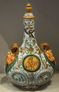 Pilgrim Bottle, 1560-70, Italy, Urbino, Tin glazed earthenware (majolica).
