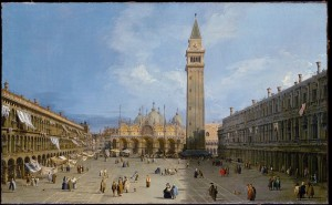 Piazza San Marco with the Basilica (1720) by Canaletto, Venice, Italy.