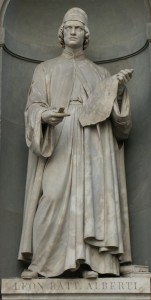 Statue of Leon Battista Alberti of Giovanni Lusini , located in Florence's Uffizi Gallery .