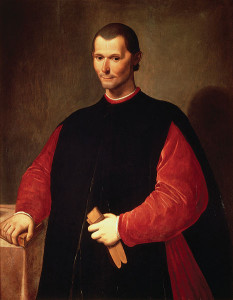 Santi di Tito, Famous posthumous portrait of Niccolò Machiavelli (1469-1527), second half of 16th century, oil on canvas, Palazzo Vecchio, Florence, Tuscany, Italy.
