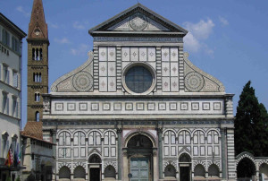 Church of Santa Maria Novella, facade by Leon Battista Alberti, 1456–70, Florence, Italy.