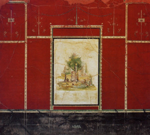 Detail of third style wall painting from the Villa of Agrippa Postumus. Boscotrecase, Italy. Ca. 10 BCE. Fresco.
