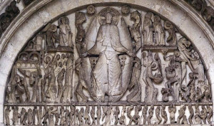 Example of the decorated Tympanum of the Church of Saint Lazare, France.