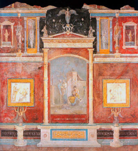Pompeian wall painting, architecture and illusionistic decoration in the third style.