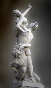 "Giambologna, Rape of the Sabine Women, 1583, Florence, Italy, 13' 6"" high, marble. In this piece, Giambologna demonstrates the use of the figura serpentinata."