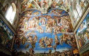 The Last Judgment, Michelangelo, the altar wall of the Sistine Chapel, inside the Vatican.