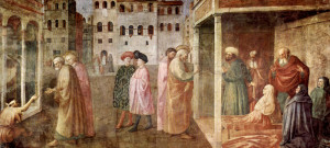 Masolino da Panicale, Healing of the Cripple and Raising of Tabatha, 1426-27, fresco, Cappella Brancacci, Santa Maria del Carmine, Florence, Italy.