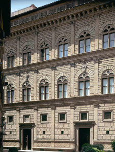 Alberti constructed the façade of the Palazzo over a period of five years, from 1446-1451; the home was just one of many important commissions that Alberti completed for the Rucellais—a wealthy merchant family.