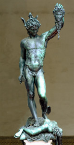 . Outside of natural stone sculptures, Cellini's bronze Perseus with the head of Medusa is a Mannerist masterpiece, designed with eight angles of view .