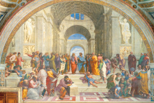 Raphael's 'School of Athens' (1510), depicting a host of ancient philosophers in a perspective setting.