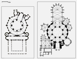 Plans of the church of St Vitale in Ravenna, dating from the 6th century, (left) and Charlemagne's palace at Aachen, constructed in the early 9th century, (right). The similarities between the architecture of the two buildings (not just the decoration) shows that the design of the later building consciously looked to the earlier building as a source of inspiration.