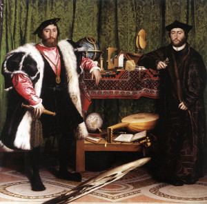 Jean de Dinteville, French Ambassador to the court of Henry VIII of England, and Georges de Selve, Bishop of Lavaur. The painting is famous for containing, in the foreground, at the bottom, a spectacular anamorphic, which, from an oblique point of view, is revealed to be a human skull. An Armenian vishapagorg rug is on the table.