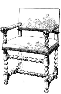 design of a chair in the Louis XIII style