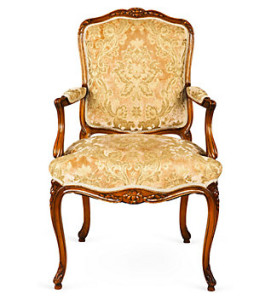 A classic Louis XV Rococo fauteuil from the 17th century.