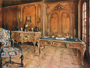 Panelled Room: French--Style of the Regence. Carved Oak Chair. Ormolu-Mounted Mahogany Writing-Table. Ormolu-Mounted Bombe Commode, by Charles Cressent. Illustration for The Book of Decorative Furniture by Edwin Foley (Jack, 1910).