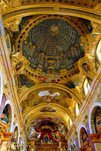 Fresco with trompe l'œil dome painted on low vaulting, Jesuit Church, Vienna, by Andrea Pozzo, 1703