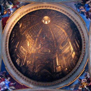 The illustionistic perspective of Andrea Pozzo's trompe-l'oeil dome at Sant'Ignazio (1685) creates an illusion of an actual architectural space on what is, in actuality, a slightly concave painted surface.
