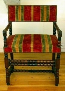 Louis XIII style armchair, first half of the 17th century, museum of decorative arts in Bordeaux.