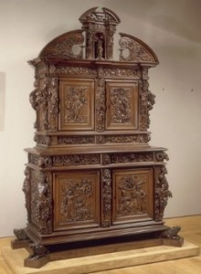 Double bodied cabinet, Louis XIII style, walnut wood, first quarter of the 17th century, Louvre Museum, Paris.