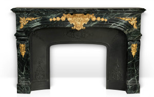 custom-made Regence style marble fireplace mantel with gilded bronze ornaments.