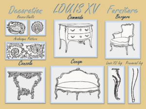 Louis XV decoration and furniture.