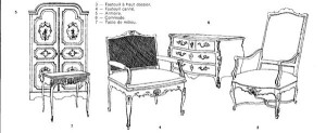 Régence furniture design, drawings.