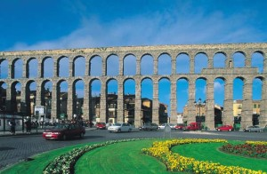 The arches of an elevated section of the Roman provincial Aqueduct of Segovia, in modern Spain.