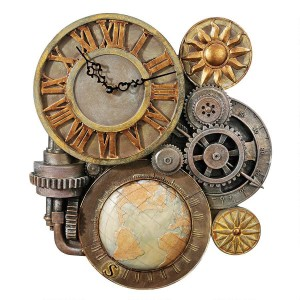 Gears of time, sculptural wall clock