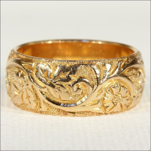 Engraved Wide Antique Wedding Band Ring,18k Gold 1900