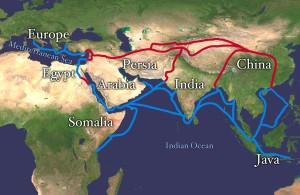 The RED Route is the original Silk Road, the BLUE route is water/sea route that will develop over time.
