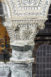Ancient decorated pillar in the Hagia Sofia church, Constantinople, Istanbul, Turkey