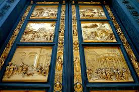 "The bronze doors of the Baptistry known as the ""Gate of Paradise"" by Lorenzo Bernini"