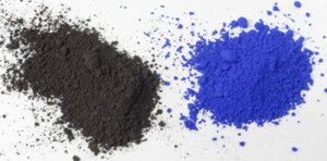 Raw umber (left) and synthetic ultramarine (right) pigments in powder form