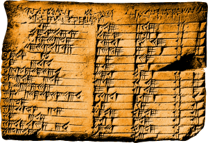 The Plimpton 322 tablet is a Babylonian clay tablet, written in cuneiform, from around 1,800 BC (now held at Columbia University). The tablet contains four columns of numbers, written in base 60 (a system that survives in our hours, minutes, and seconds)
