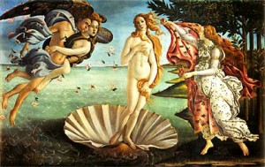 The Birth of Venus (ca.1485),painting in tempera on linen canvas by Alessandro Botticelli