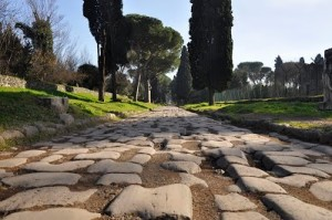 Historic road Via Appia Antica (Appian Way) in ancient Rome