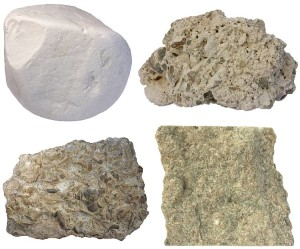 Varieties of limestone. Chalk (upper left) is a marine limestone consisting of tests of microscopic algae and foraminifera. Tufa (upper right) is a chemical precipitate of calcium carbonate. Fossils are very common in marine calcitic sedimentary rocks. Rocks such as coquina are wholly composed of fossils but so-called normal limestones may be also highly fossiliferous. The sample (lower left) is from the Ordovician. Grainstone is a coarse-grained grain-supported variety that contains almost no limy mud (micrite).