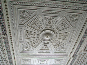 Plasterwork in salon ceiling.