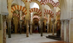 Columns and double arches, Mosque-Cathedral, Cordoba, Spain.