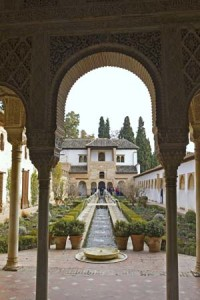 The Patio de la Acequia at the Generalife, the summer palace of the Moorish sultans, in Granada, Spain.