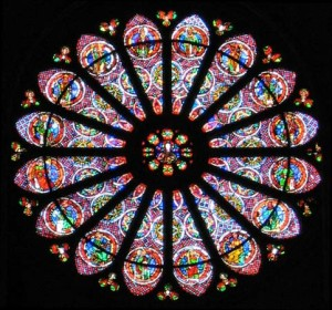 West rose window in Reims cathedral, France.