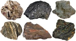 Varieties of schistose metamorphic rocks: 1. Mica schist with porphyroblasts of garnet, staurolite and kyanite. 2. Graphite schist. 3. Chlorite schist (greenschist). 4. Quartzofeldspathic (gneissic) schist. 5. Staurolite schist with a twinned staurolite porphyroblast. 6. Blueschist (glaucophane schist with garnet and omphacite).