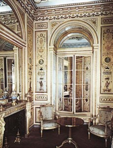 Hôtel de Soubise, Paris, France: boudoir of Madame de Serilly Symmetrical, restrained motifs based on the antique designs characteristic of the early Neoclassical Louis XVI style.