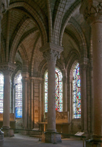 The ambulatory at the Abbey of Saint Denis, France.