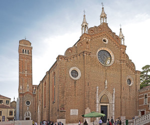 East front with the bell tower, Santa Maria die Frari, Venice, Italy